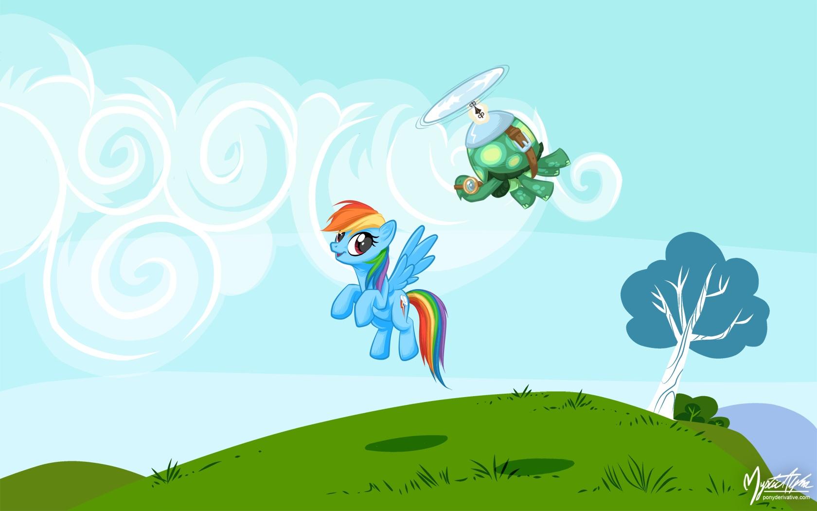 Rainbow Dash + Tank Tortoise by mysticalpha