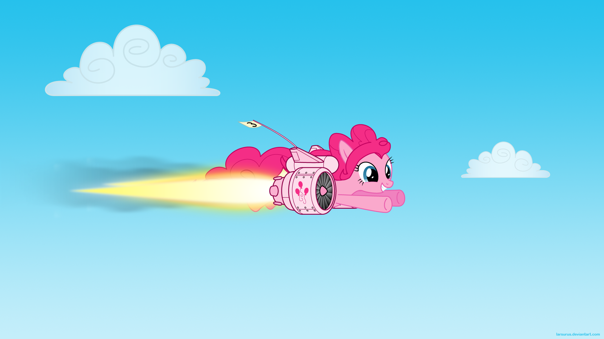 Pinkie Pie on the Fly by Larsurus