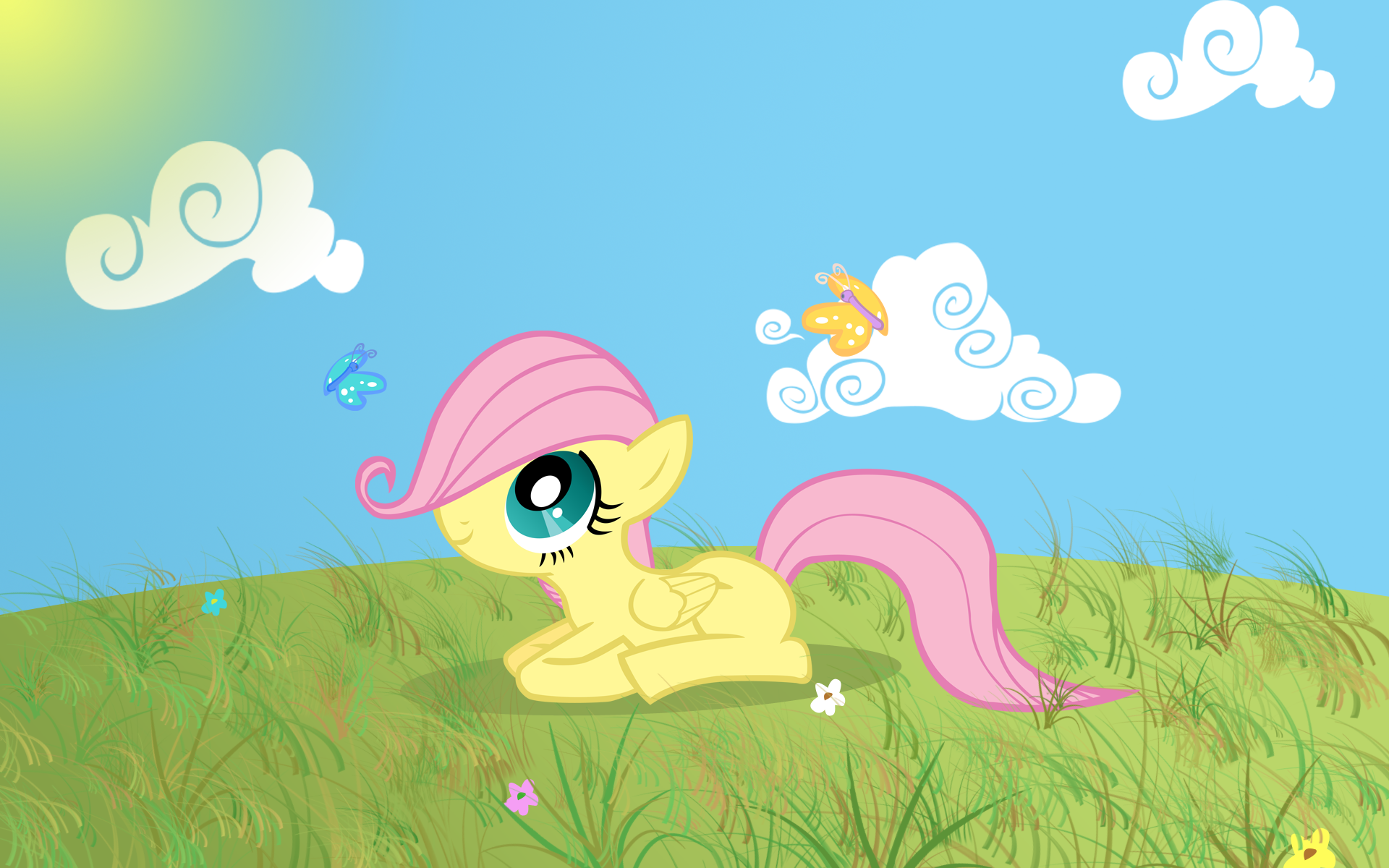 Filly Fluttershy Lying Down Wallpaper by boxdrink and pikn2