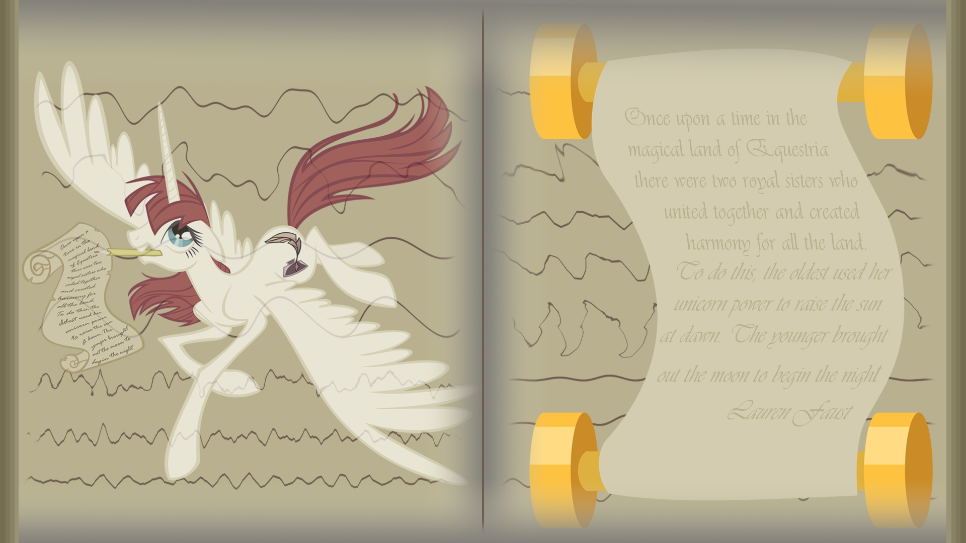 Lauren Faust OC Alicorn Wallpaper by BlueDragonHans, DraikJack and The-Smiling-Pony