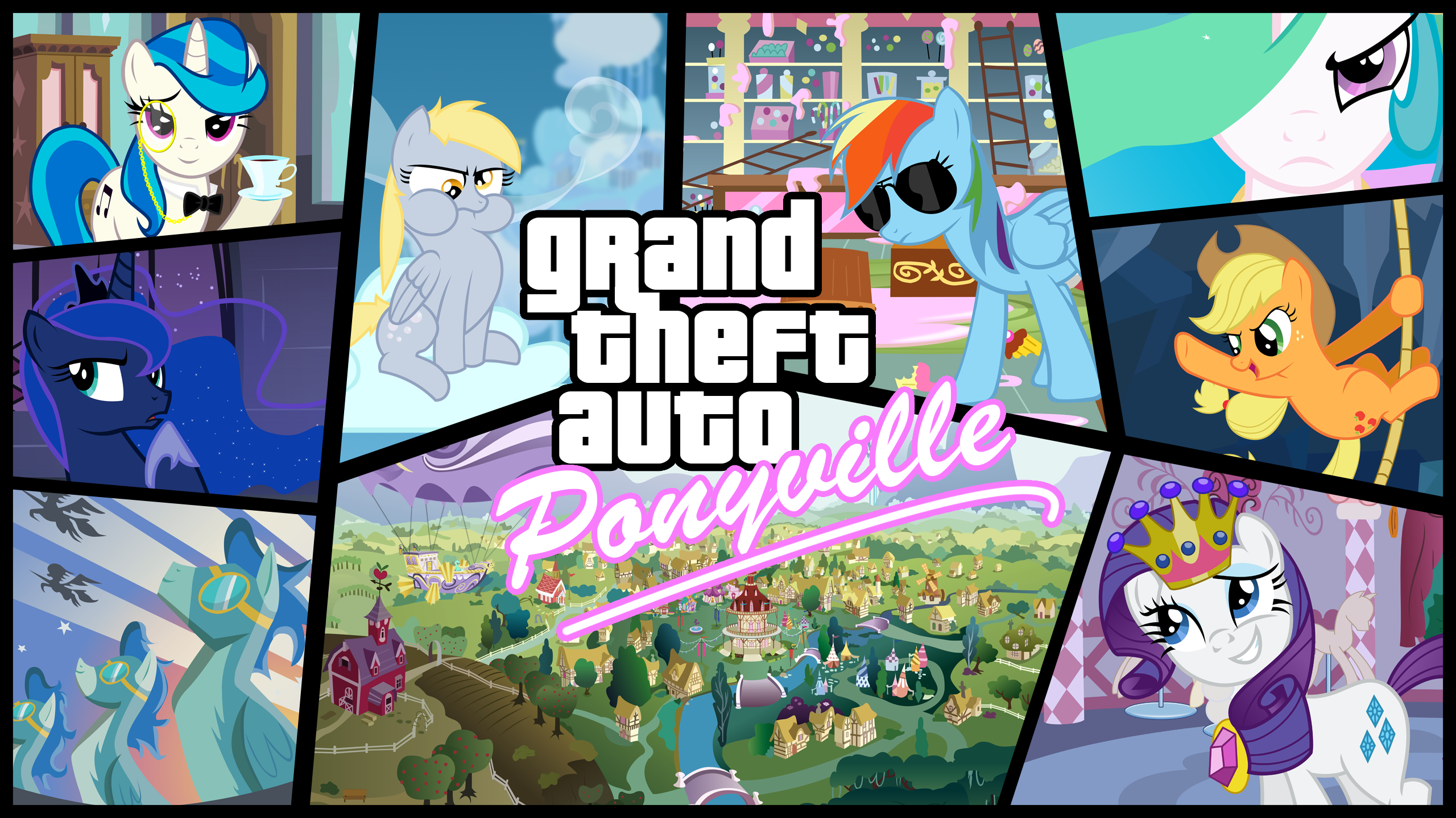Grand Theft Auto: Ponyville HD by astyxlightning, BakaBrony, BlackGryph0n, Blanishna, Flizzick, GuruGrendo, Hellswolfeh, ikonradx, Kna, mandydax, miketueur, MisterLolrus, RatchetHuN, ShelltoonTV, SooYou, tamalesyatole, thehellbean, time015, UP1TER and ZuTheSkunk