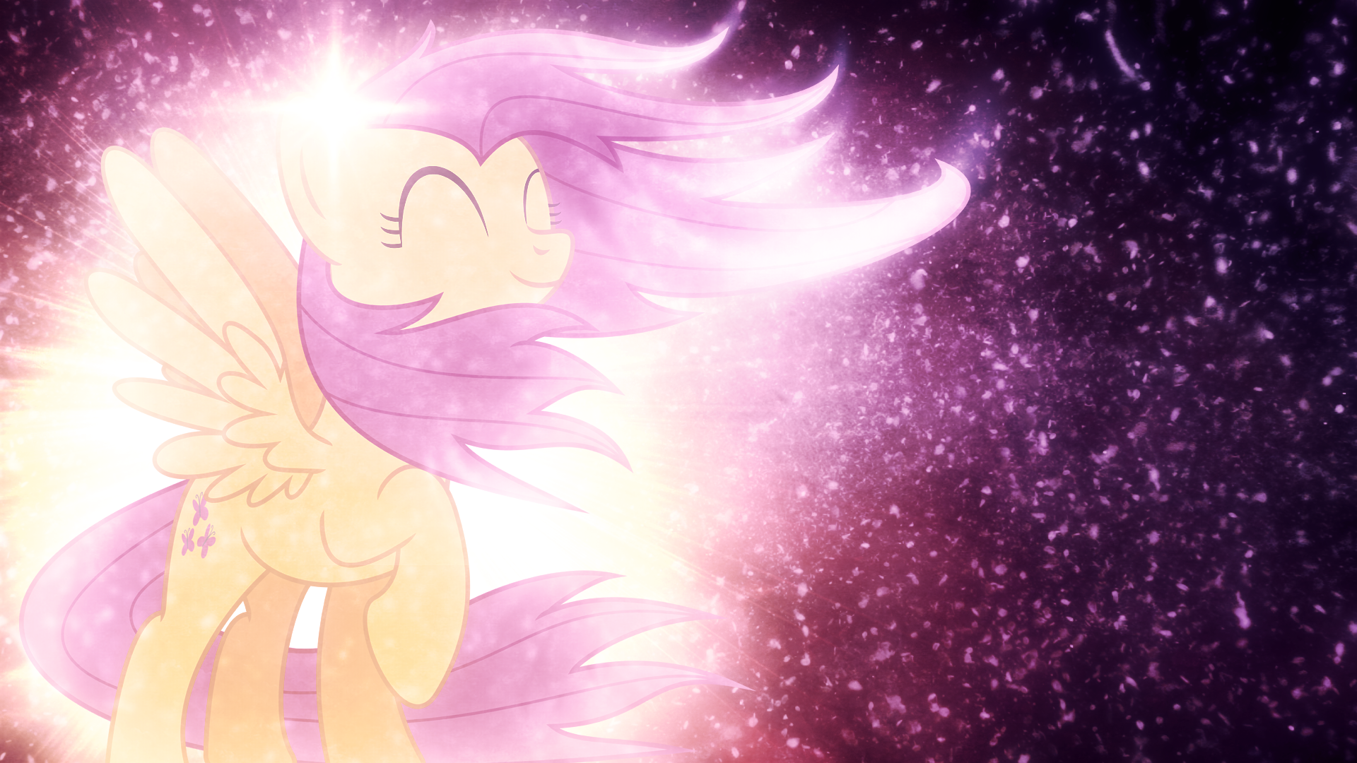 Fluttershy in the Wind - Wallpaper by MysteriousKaos and Tzolkine