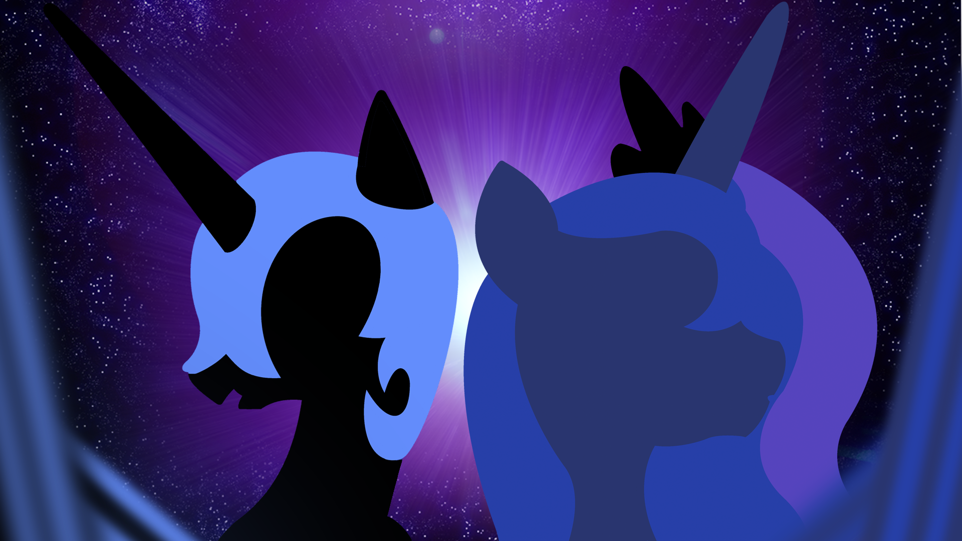 Nightmare Moon and Princess Luna Wallpaper by BlueDragonHans, hombre0 and Vexorb
