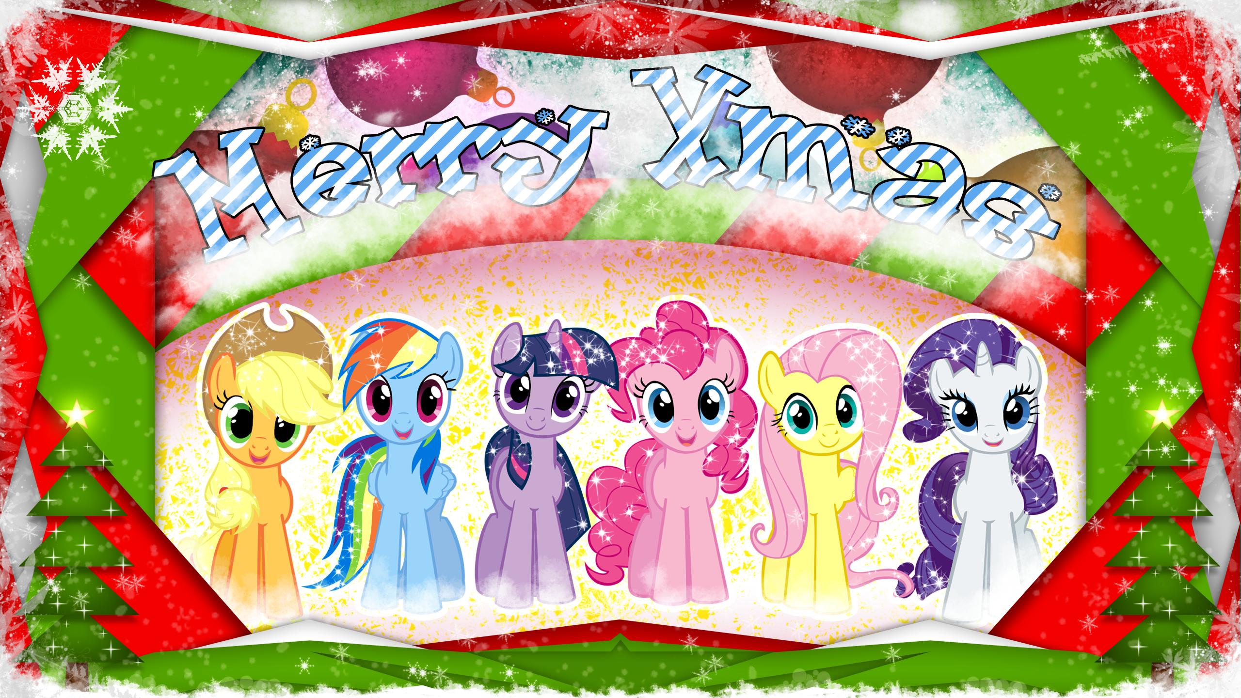 Mane 6 Merry Xmas wallpaper by JaySk8 and skrayp